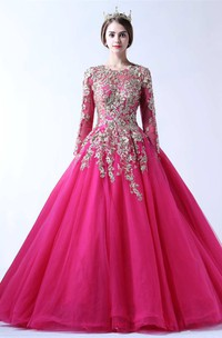Ball Gown Floor-length Jewel T-shirt Long Sleeve Tulle Dress with Appliques
