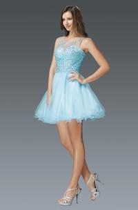 A-Line Jeweled Mini Scoop-Neck Tulle Sleeveless Dress