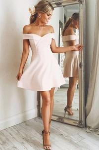 Sleeveless A-line Short Mini Off-the-shoulder Criss Cross Chiffon Homecoming Dress