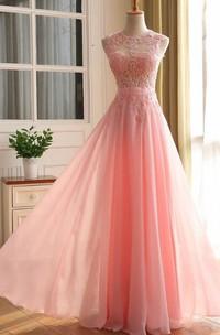 Zipper Chiffon Sleeveless A-Line Lace Back Dress
