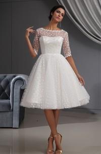 Midi Dot Lace Illusion Short-Sleeve Dress