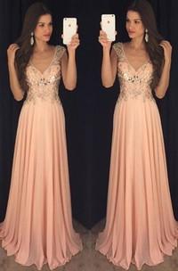 Newest Chiffon A-line V-neck Prom Dress 2018 Crystals Cap Sleeve