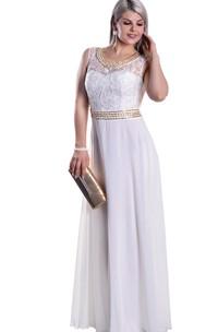 Sleeveless Lace Scoop-Neck High-Waist Illusion Chiffon Dress
