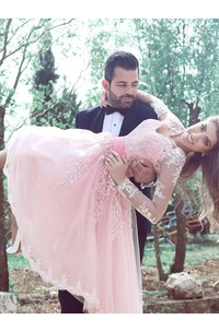 Long Sleeve A-line Knee-length V-neck Pleats Sash Ribbon Lace Homecoming Dress