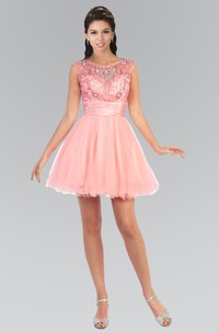 A-Line Short Scoop-Neck Sleeveless Tulle Keyhole Dress With Ruffles And Beading