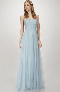 Spaghetti Tulle Sheath Bridesmaid Dress With Pleats