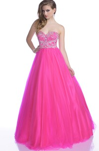 A-Line Crystal Detailed-Bodice Tulle Sleeveless Strapless Sweetheart Gown