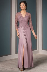 Lace 3-4-sleeve Split Front Mother of the Bride Dress
