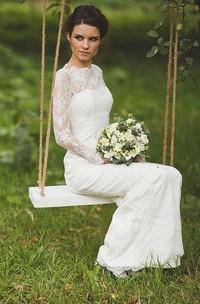 Sheath Wedding Illusion-Sleeve Scalloped Lace Dress