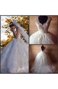 Pleated Lace Cap-Sleeve Princess Tulle Ball Gown