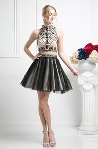 2-Piece Tulle Sleeveless Jeweled Multi-Color A-Line Mini Short High-Neck Dress