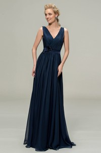 Ethereal V-neck Sleeveless Chiffon Floor-length Dress With Floral Appliques And Sash