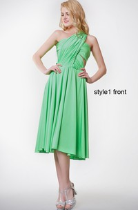 Short-Midi Pleated Ruched Convertible Dress