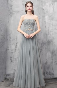 Sweetheart Off-the-shoulder V-neck Tulle Floor-length Prom With Appliques