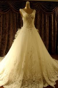 V-neck Lace Tulle  Sleeveless Wedding Dress