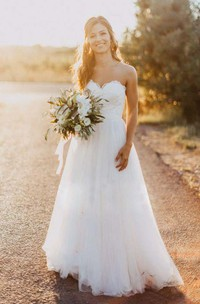 Sweetheart Lace Tulle  Sleeveless Wedding Dress
