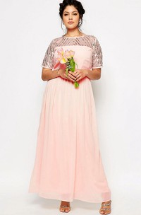 Jewel-Neck Short Sleeve Chiffon plus size Dress With Sequins