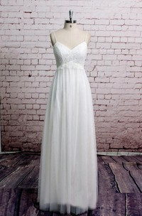 Bridal Lace Corset Tulle Spaghetti-Strap Dress