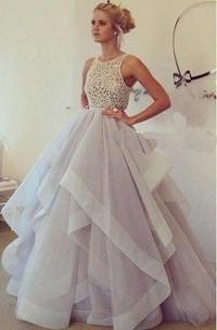 Sleeveless Lace-Top Floor-Length Long Chiffon Dress