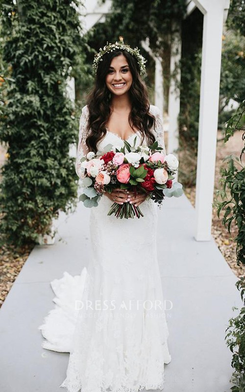 V-neck Lace Illusion Long Sleeve Wedding Dress