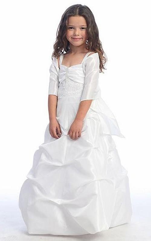 Layered Pick Up Cape Spaghetti Taffeta Flower Girl Dress