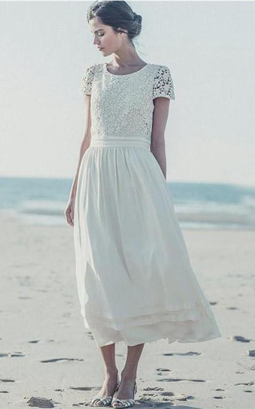 A-Line Cap Sleeve 3-4 Length Jewel White Newest Dress