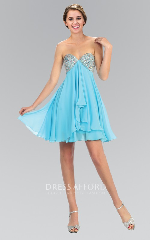 A-Line Backless Draping Jeweled Mini Sweetheart High-Waist Strapless Chiffon Dress
