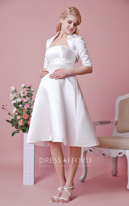 Satin Removable Jacket Strapless Elegant Dress