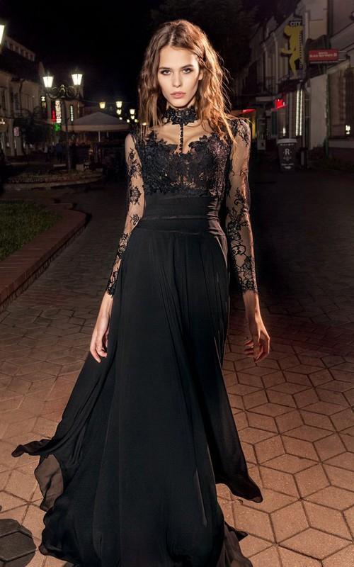 High Neck Illusion Long Sleeve Chiffon long Dress With Lace