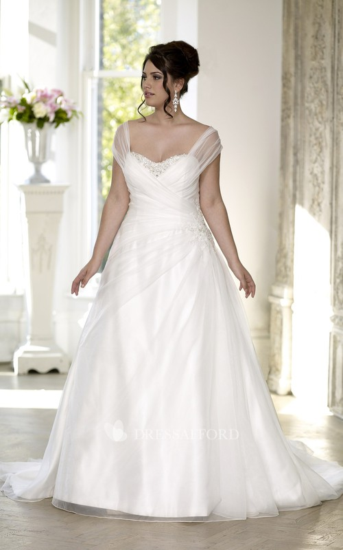 Cap Lace-Up-Back Draping Long A-Line Side Court-Train Gown