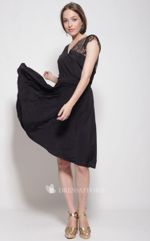 V-neck Lace Cap-sleeve short Chiffon Dress With Illusion And bow