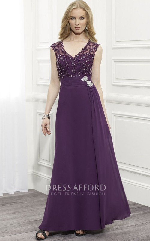 Formal Jewel Illusion Back Cap-Sleeve V-Neckline Dress