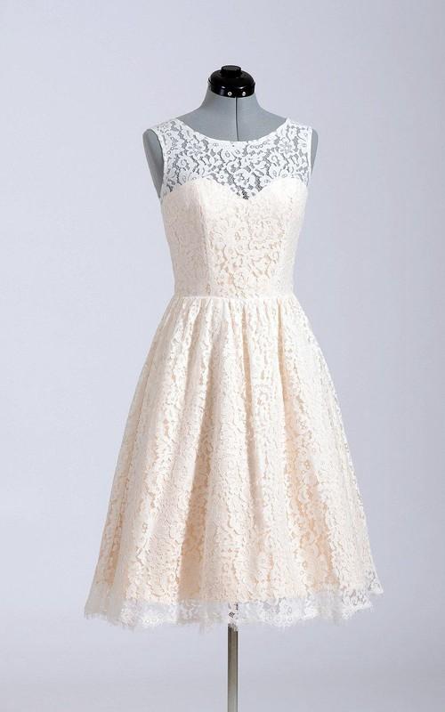 A-Line Simple Inspire Bridal Short Cute Lace Dress