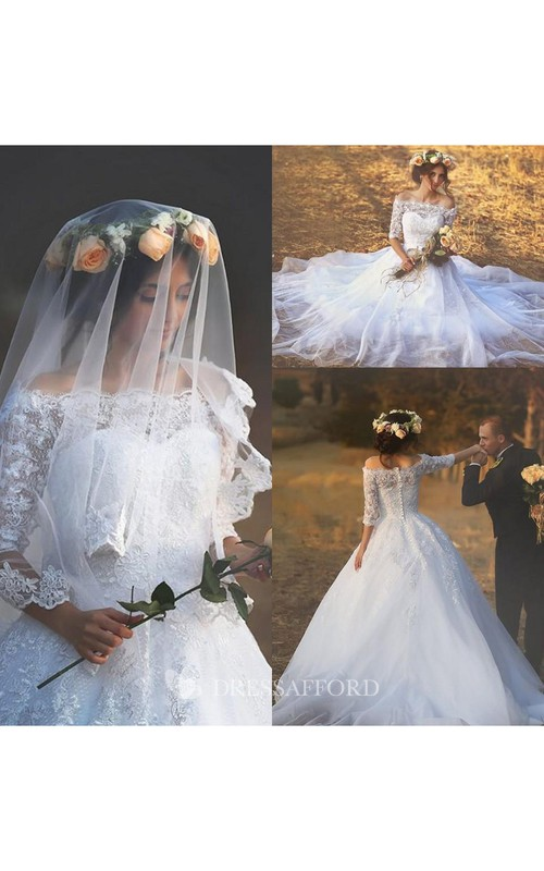 Off-the-shoulder Lace Tulle Illusion Half Sleeve Wedding Gown