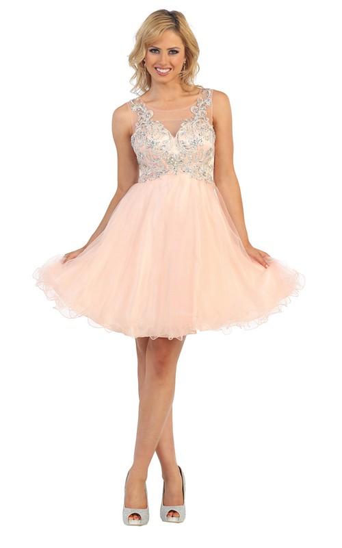 A-Line Illusion Appliqued Jeweled Short Mini High-Waist Bateau Tulle Dress