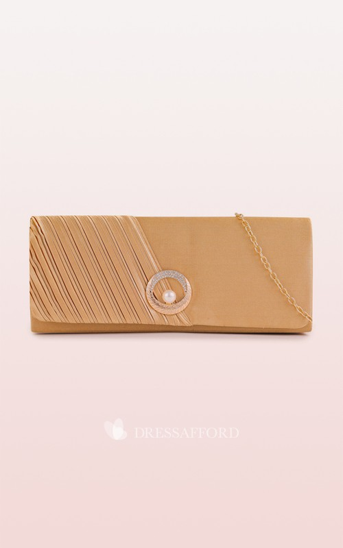 Satin Clutch with Pearl