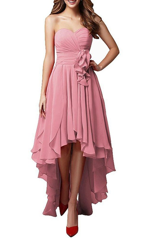 Pink Silver Sweetheart High Low Dress With Layered Skirt