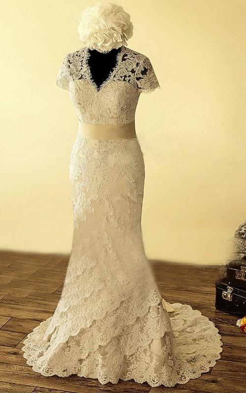 Lace Satin Sash Flower Keyhole-Back V-Neckline Dress