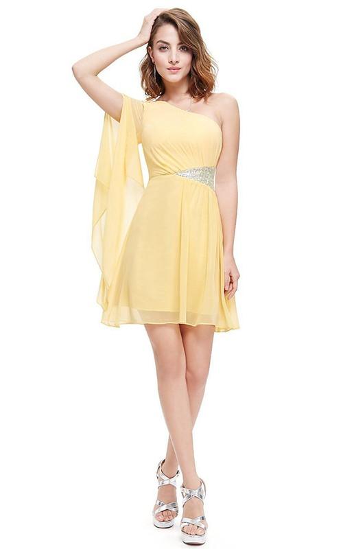 Short Pleated Single-Shoulder A-Line Chiffon Mini Dress