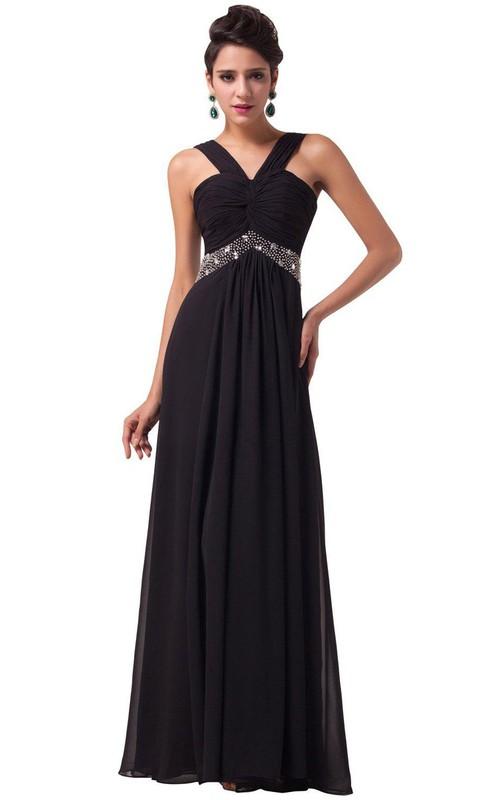 Chiffon Beaded Waist Sleeveless Sassy Gown