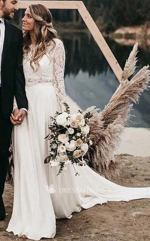 Bateau Satin Lace Long Sleeve Chapel Train Illusion Two Piece Wedding Dress