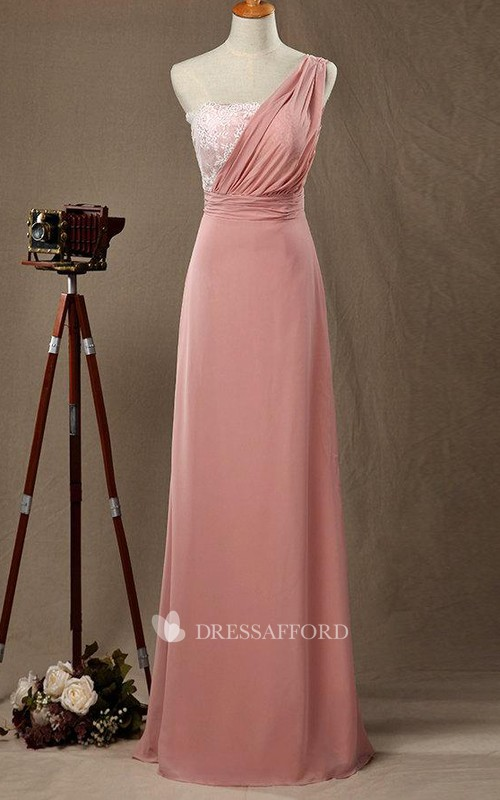 Floor-length One-shoulder Chiffon&Lace&Satin Dress