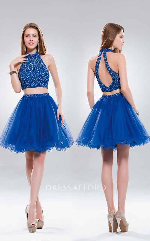 2-Piece Keyhole Tulle Ruffled Jeweled A-Line Short High-Neck Mini Sleeveless Dress