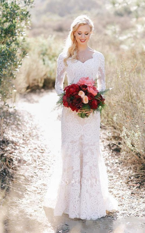Queen Anne V-neck Lace Illusion Long Sleeve Wedding Dress