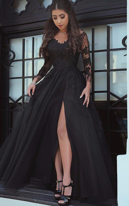 V-neck Tulle Long Sleeve Floor-length Evening Dress with Lace and Split Front