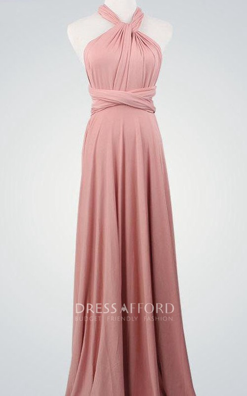 Wrap Bridemaid Nude Pink Infinity Sexy Bridal Evening Nude Pink Bridesmaid Floor Length Dress