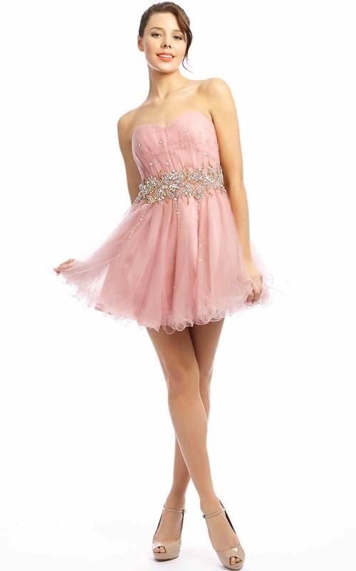 A Line Short Mini Sweetheart Sleeveless Beaded Tulle Prom Dress With Ruffles