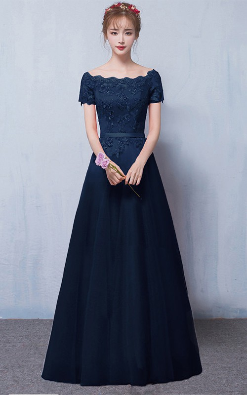 Off-the-shoulder Satin Lace Floor-length Formal Dress With Appliques