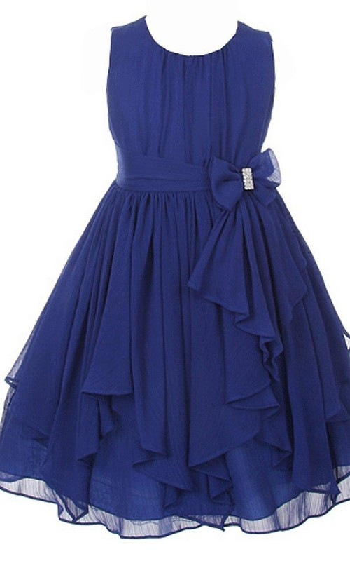 A-Line Bow Scoop-Neckline Sleeveless Ruched Dress