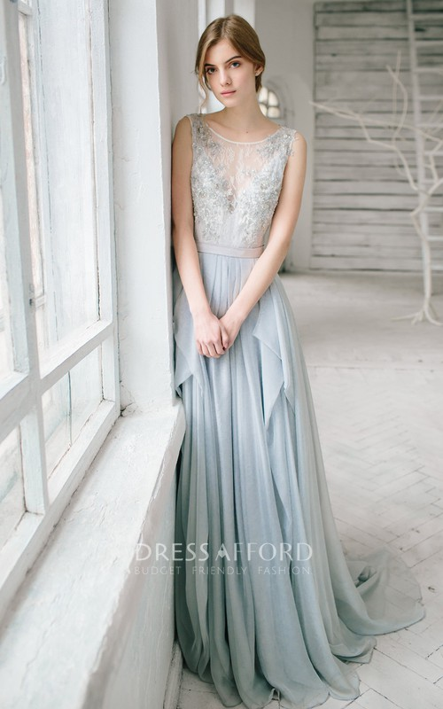 Lace Rhinestone Floor-Length Sleeveless Bridesmaid Dress